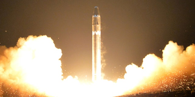 A view of the newly developed intercontinental ballistic rocket Hwasong-15's test that was successfully launched is seen in this undated photo released by North Korea's Korean Central News Agency (KCNA) in Pyongyang on Nov. 30, 2017.