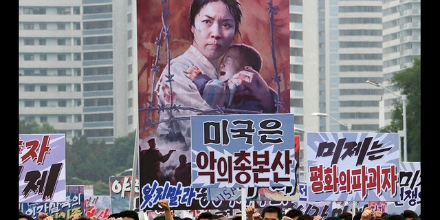 """Tens of thousands of men and women pumped their fists and blasted the U.S. in Pyongyang's central Kim Il Sung Square last year to mark what North Korea calls """"the day of struggle against U.S. imperialism"""" – the anniversary of the start of the Korean War."""
