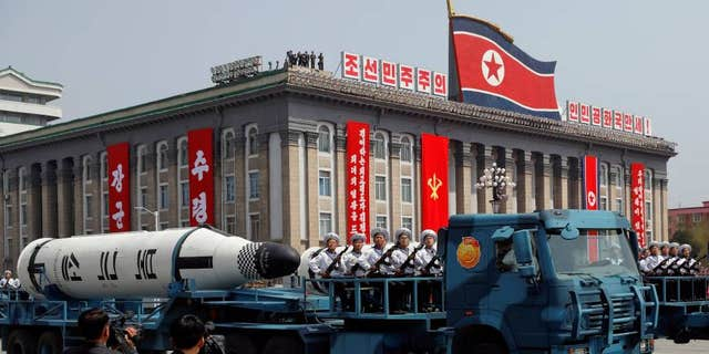 A North Korean navy truck carries the Pukkuksong submarine-launched ballistic missile (SLBM) during a military parade marking the 105th birth anniversary of country's founding father, Kim Il Sung in Pyongyang on April 15.