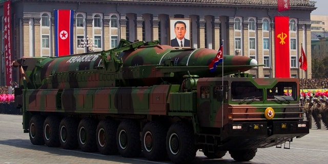 April 15, 2012: In this file photo, a North Korean vehicle carrying a missile passes by during a mass military parade in Pyongyang's Kim Il Sung Square to celebrate the centenary of the birth of the late North Korean founder Kim Il Sung.