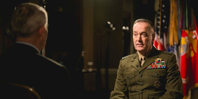 North, shown with Chairman of the Joint Chiefs of Staff Gen. Joseph Dunford in an exclusive interview about the fight against ISIS.