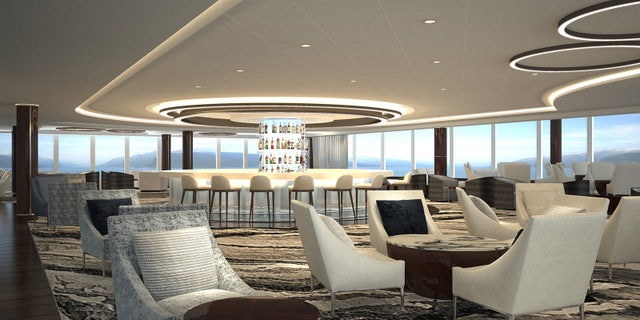The liner's observation lounge features a 360-degree bar and 180-degree views.
