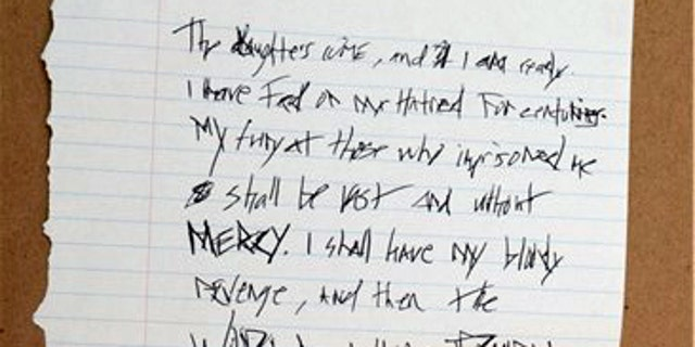 """Detectives say they also found a handwritten note in the home of Randall Drake stating """"I shall have my bloody revenge"""""""