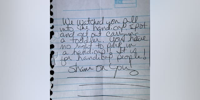 This note was allegedly left on Colleen Scarlett-Stice's windshield