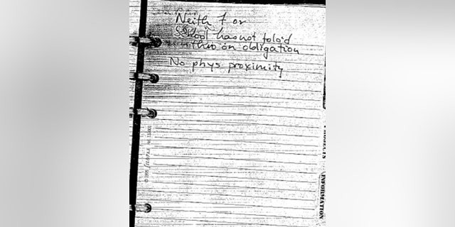 "Alison Thresher's journal entry from an unknown date reads: ""Neither F (Fernando) or school has not folo'd (followed) thru on obligation. No physical proximity."""