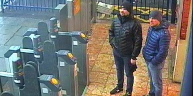 This still taken from CCTV and issued by the Metropolitan Police in London on Wednesday Sept. 5, 2018, shows Ruslan Boshirov and Alexander Petrov at Salisbury train station on March 3, 2018.
