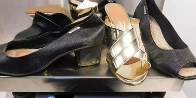 Denise Woodrum allegedly smuggled two pounds of cocaine in these shoes at Sydney Airport.