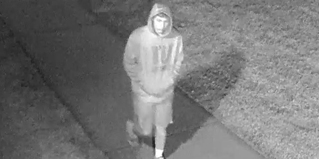 A man wearing a NY Giants sweatshirt was seen at a Long Island high school around the time it was tagged with profane graffiti, police say.