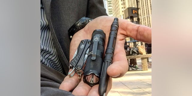 From left, the Dime, the Cortex Compact Flashlight, and the Impromptu Tactical Pen.