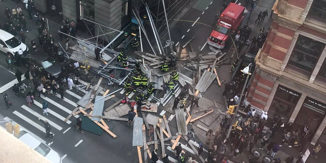 Several people were injured when scaffolding collapsed on a busy New York sidewalk on Sunday.