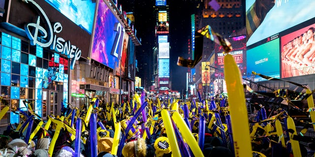 Times Square, seen here on New Year's Eve, is a frequent destination for international visitors to New York City.
