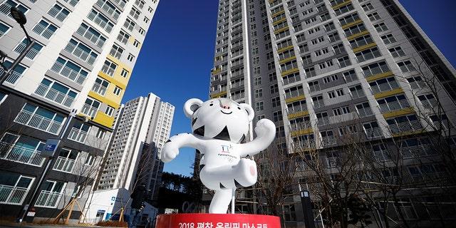 The 2018 PyeongChang Winter Olympics mascot Soohorang stands at the Gangneung Olympic Village in Gangneung, South Korea.