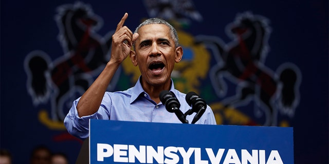 Former President Barack Obama campaigned in support of Pennsylvania candidates in Philadelphia on Friday.
