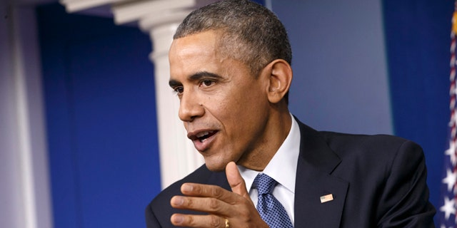 FILE: Dec. 19, 2014: President Obama speaks during a news conference in the Brady Press Briefing Room of the White House, in Washington, D.C.