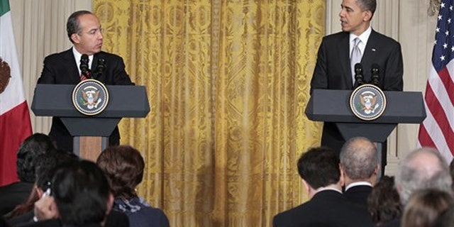 President Obama, accompanied by Mexican President Felipe Calderon, makes an opening statement during their joint news conference March 3 in the White House.