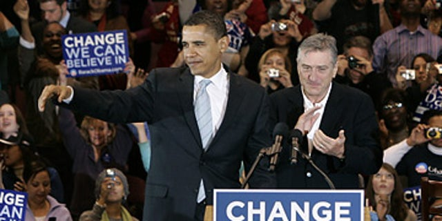 Then Sen. Barack Obama campaigns with Robert DeNiro in New Jersey on Feb. 4, 2008. (AP)