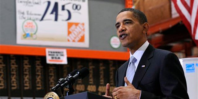 President Barack Obama speaks during a visit to Home Depot in Alexandria, Va., Tuesday, Dec. 15, 2009. (AP)