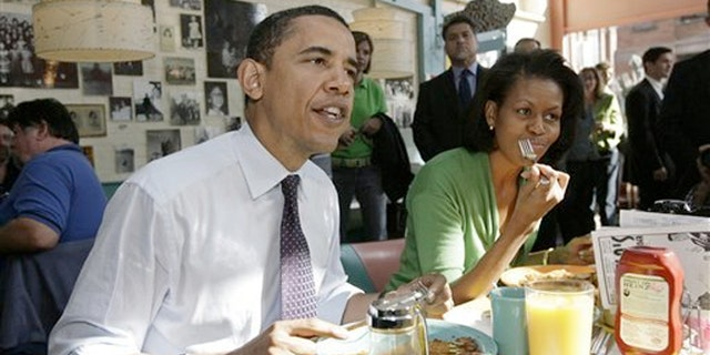 Obama eating pancakes on the campaign trail.