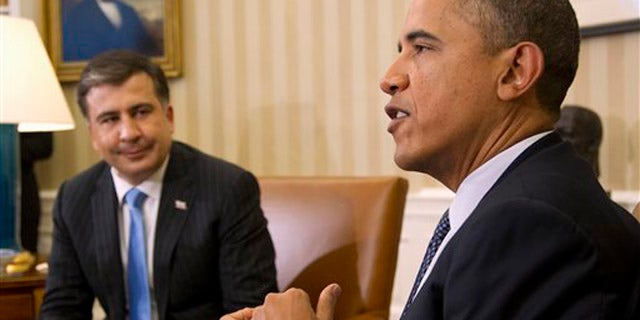 Jan. 30, 2012: President Obama meets with Georgian President Mikheil Saakashvili in the Oval Office of the White House.