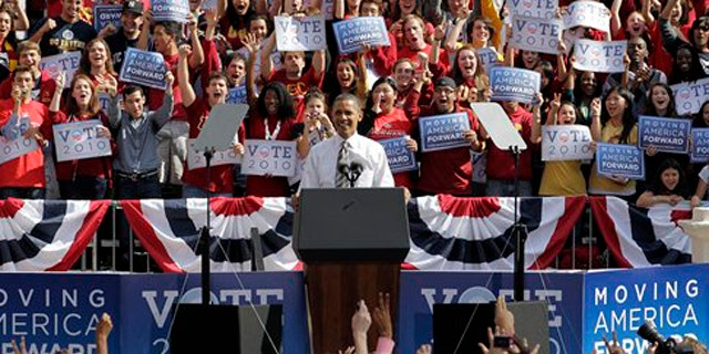 President Obama addresses supporters during a rally at the University of Southern California in Los Angeles  Oct. 22. (AP Photo)