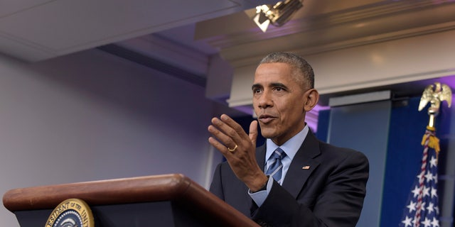 President Barack Obama speaks during a news conference, Friday, Dec. 16, 2016, in the briefing room of the White House in Washington. (AP Photo/Susan Walsh)