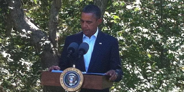 President Obama discusses the developments in Libya in Martha's Vineyard Aug. 22.