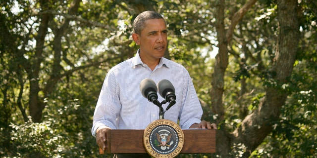 President Obama delivers a statement on Hurricane Irene in Martha's Vineyard Aug. 26.