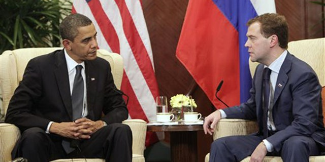 Nov. 15: President Barack Obama meets with Russia's President Dmitry Medvedev on the sidelines of the APEC summit in Singapore. (AP)