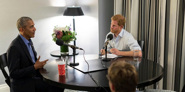 Prince Harry, right, interviews former US President Barack Obama as part of his guest editorship for BBC Radio 4.