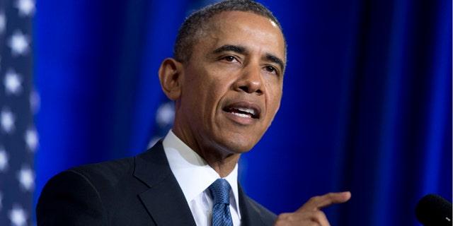 FILE: Jan. 17, 2014: President Barack Obama speaks at the Justice Department in Washington, D.C.