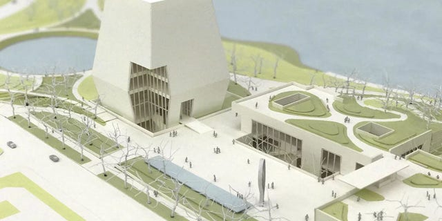 This view of the Obama Presidential Center designs shows the museum, forum and library.