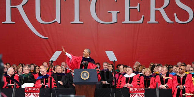 President Barack Obama delivers a commencement address at Rutgers University Sunday, May 15, 2016 in Piscataway, N.J. (AP Photo/Mel Evans)