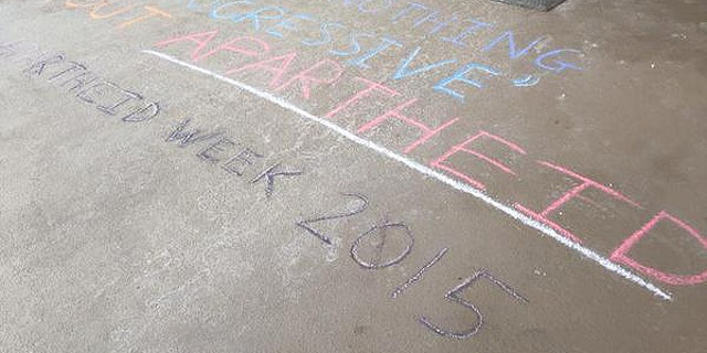 "Chalk graffiti was also used during what was dubbed ""Apartheid Week"" by BDS activists."