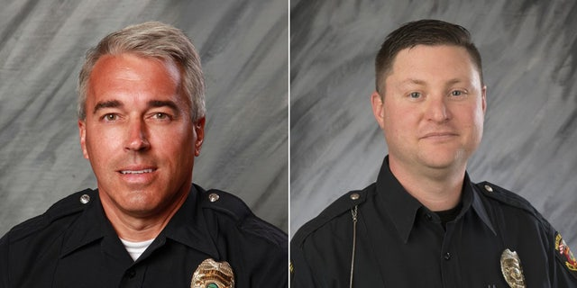Officers Anthony Morelli (left) and Eric Joering (right) were killed in Saturday's incident, police said.