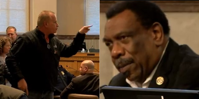 Kyle Plush's uncle confronts a Cincinnati councilman over comments during a meeting on Tuesday.