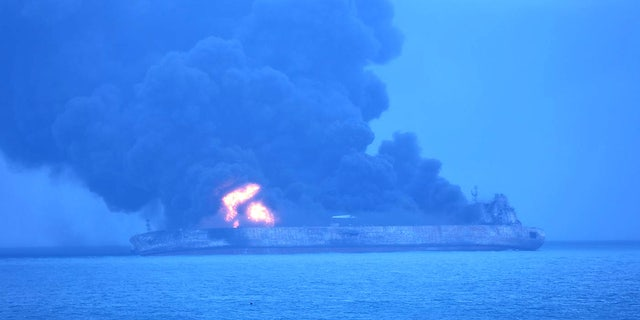 """The Panama-registered tanker """"Sanchi"""" caught fire after a collision with a Hong Kong-registered freighter off the coast of China."""