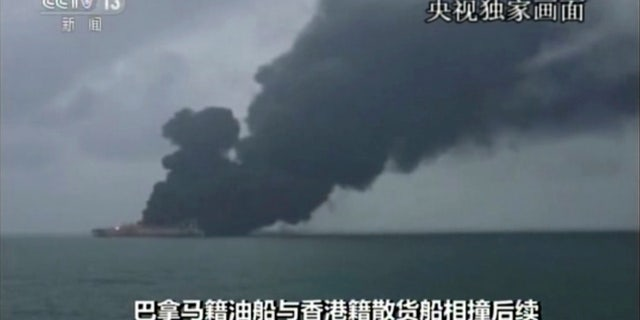 """The Panama-registered tanker """"Sanchi"""" is seen ablaze after a collision with a Hong Kong-registered freighter."""