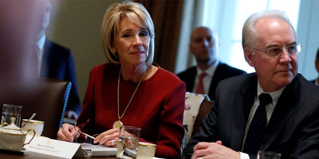 FILE: U.S. Secretary of Education Betsy DeVos and Secretary of Health and Human Services Tom Price