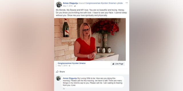 """My Blonde, My Beauty and MY love: You are so beautiful and loving,"" Olagunju wrote on Facebook about Rep. Sinema."