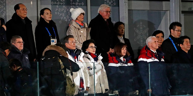 Left to right: Kim Yo Jong, sister of North Korean leader Kim Jong Un, South Korean President Moon Jae-in,  German President Frank-Walter Steinmeier, U.S. Vice President Mike Pence and Japanese Prime Minister Shinzo Abe attend the Winter Olympics opening ceremony.