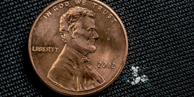 A lethal dose of fentanyl is pictured next to a penny.