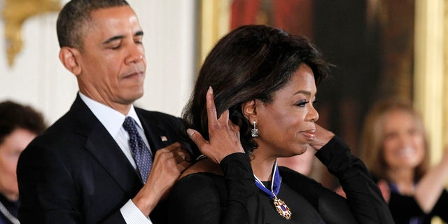 President Barack Obama with Oprah Winfrey.