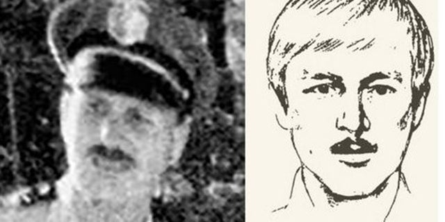 A photograph and sketch of suspected Golden State Killer, Joseph James DeAngelo, in the 1970s.