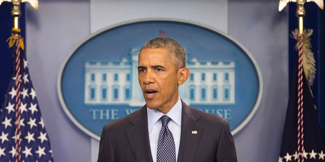 President Barack Obama speaks about the massacre at a nightclub in Orlando that claimed 50 lives during a news conference at the White House in Washington, Sunday, June 12, 2016. (AP Photo/Pablo Martinez Monsivais)