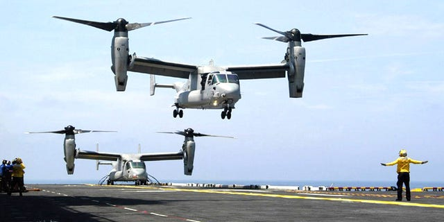 V-22 Osprey aircraft operate in close proximity during recent flight deck developmental testing.