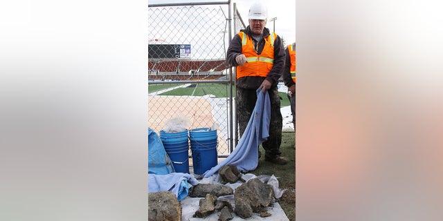 OSU associate professor of anthropology Loren Davis at the excavation (Oregon State University).