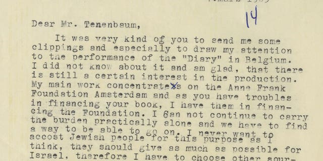 One of Otto Frank's letters on preserving his daughter's legacy.