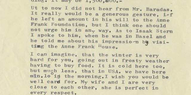 Otto Frank's message for peace.