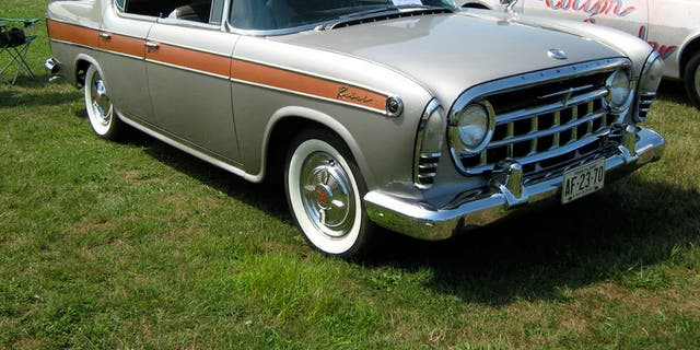 Whitewall tires are found on this 1957 Rambler Rebel.