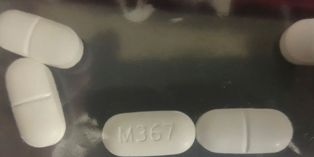 Seized counterfeit hydrocodone tablets in investigation of rash of fentanyl overdoses in northern California in 2016. In two weeks, the area saw 42 overdoses, 10 of them fatal.